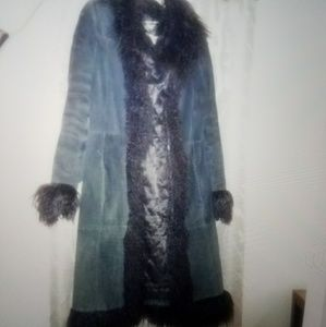 Jackets & Blazers - Black suede leather jacket with sheep fur